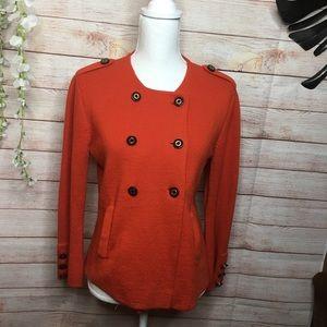 Tory Burch toasted orange wool blazer size L